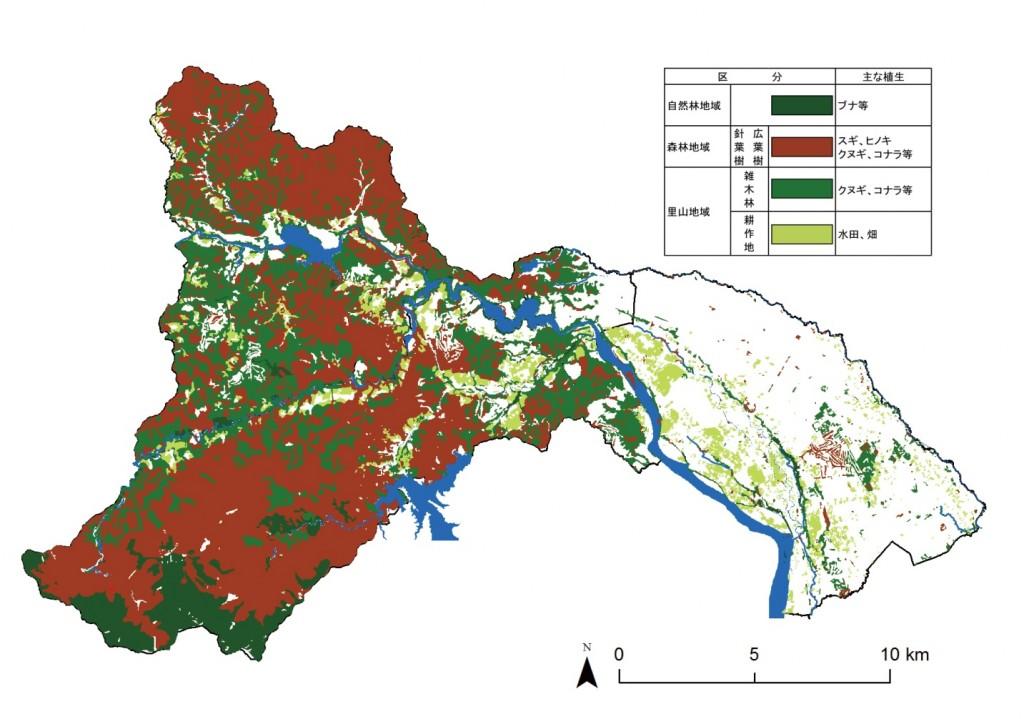 相模原市 森林の分布