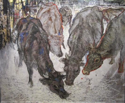 餌食牛の群れ